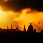 Sun sets over the Palau Nacional
