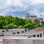 The Reichstag is visible behind the Holocaust Memorial