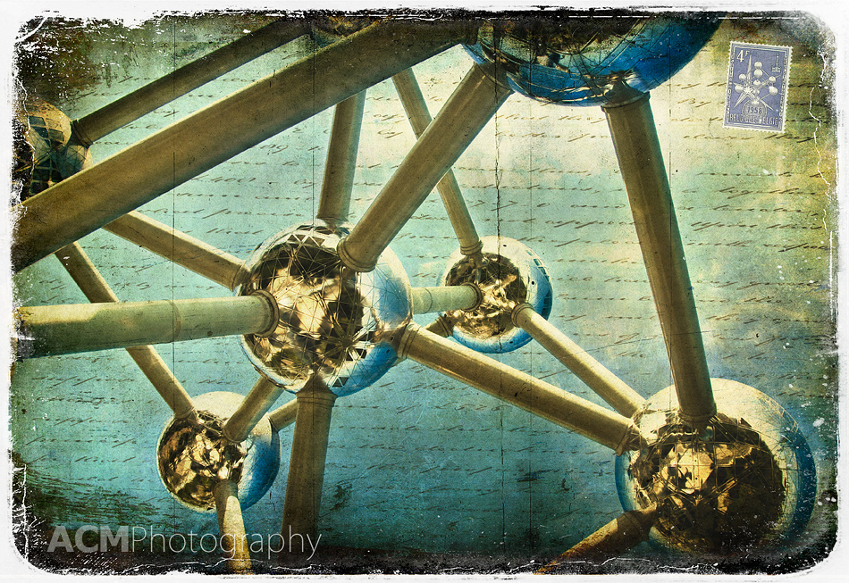 Atomium, Brussels, Belgium - Forgotten Postcard, Digital Art, Photography, Collage