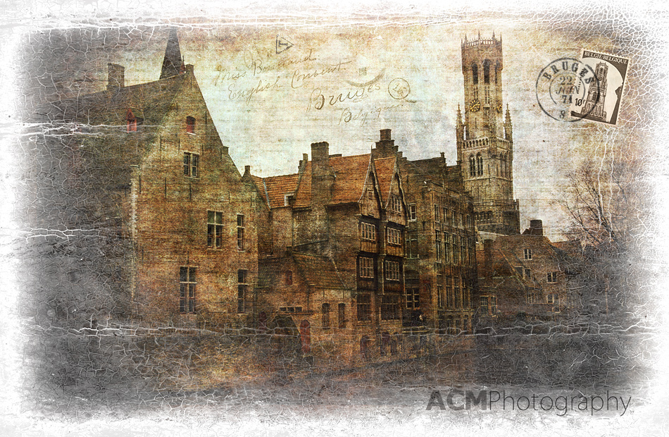 Bruges, Belgium - Forgotten Postcard Digital Art Photography Collage
