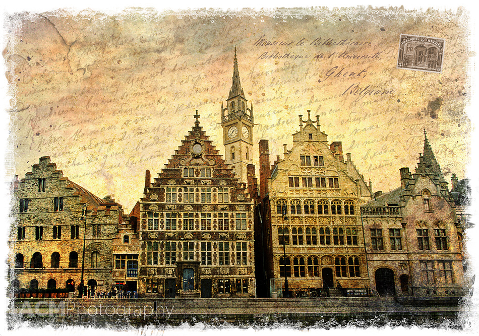 Ghent, Belgium - Forgotten Postcard Digital Art Photography Collage