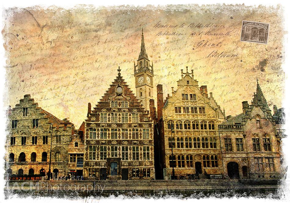Ghent, Belgium - Forgotten Postcard Digital Art Photography Collage