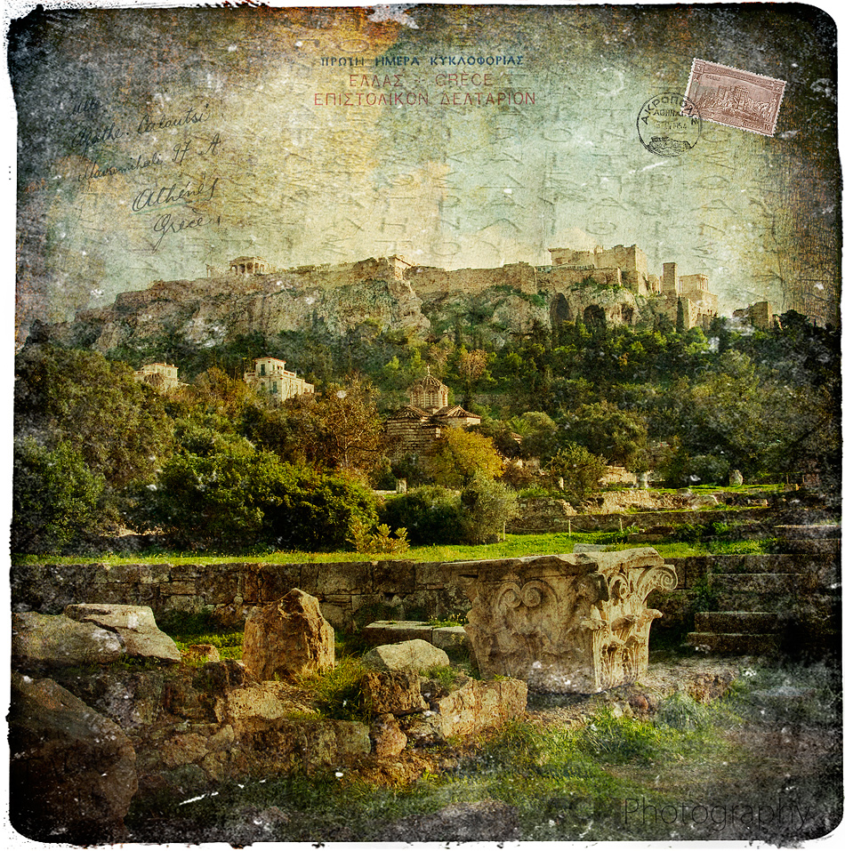 Acropolis, Athens, Greece - Forgotten Postcard Digital Art Collage