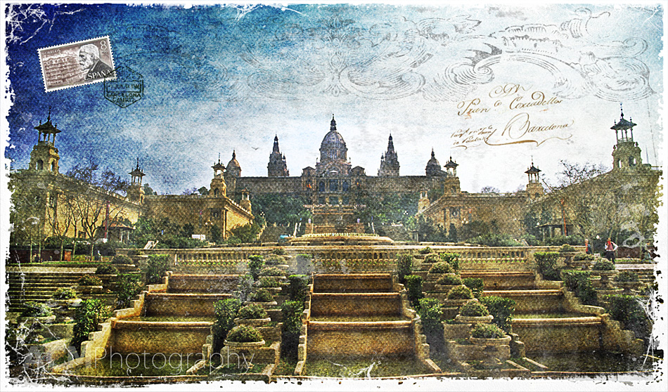 Palau Nacional, Barcelona, Spain | Forgotten Postcard digital art collage