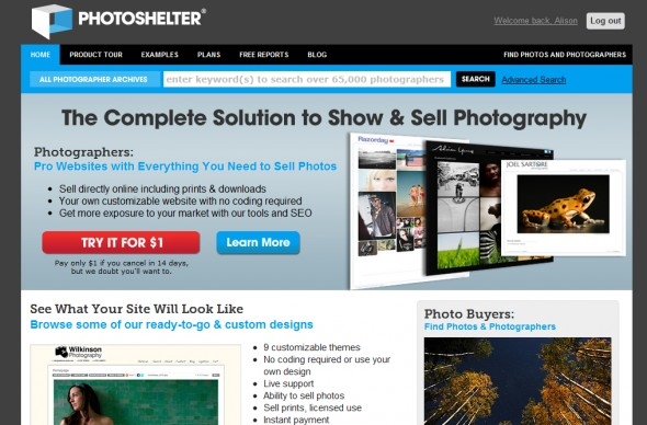photoshelter homepage